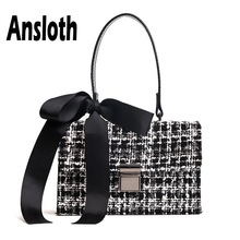 Ansloth Bow Shoulder Bag For Women Wool Handbag Ladies Plaid Tweed Crossbody Autumn Small Flap Female Handle HPS663