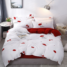 AB Double side White Red Kiss 3/4pcs Bedding Set Adult Kids Teen Linen Duvet Cover Pillowcase Flat Bed Sheet Girl Boy Bedclothes(China)