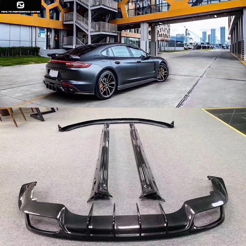 971 de fibra de carbono parachoques delantero labio parachoques trasero difusor labio lado faldas para Porsche Panamera 971, 2017
