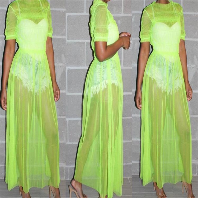 Sheer <font><b>Dress</b></font> <font><b>Transparent</b></font> See Through <font><b>Sexy</b></font> Mesh <font><b>Dress</b></font> Long <font><b>Dresses</b></font> for Woman Ladies Femme Yellow Green Black Clubwear <font><b>Night</b></font> <font><b>Club</b></font> image