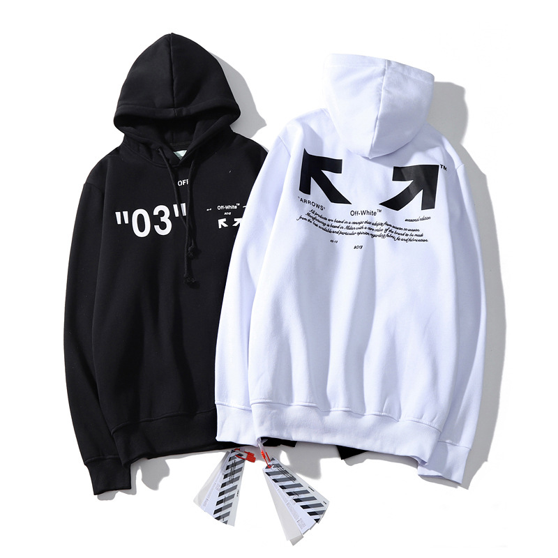 Autumn And Winter New Style Popular Brand Off Arrowhead Series Men And Women Celebrity Style Hoodie Black And White Two-color Lo