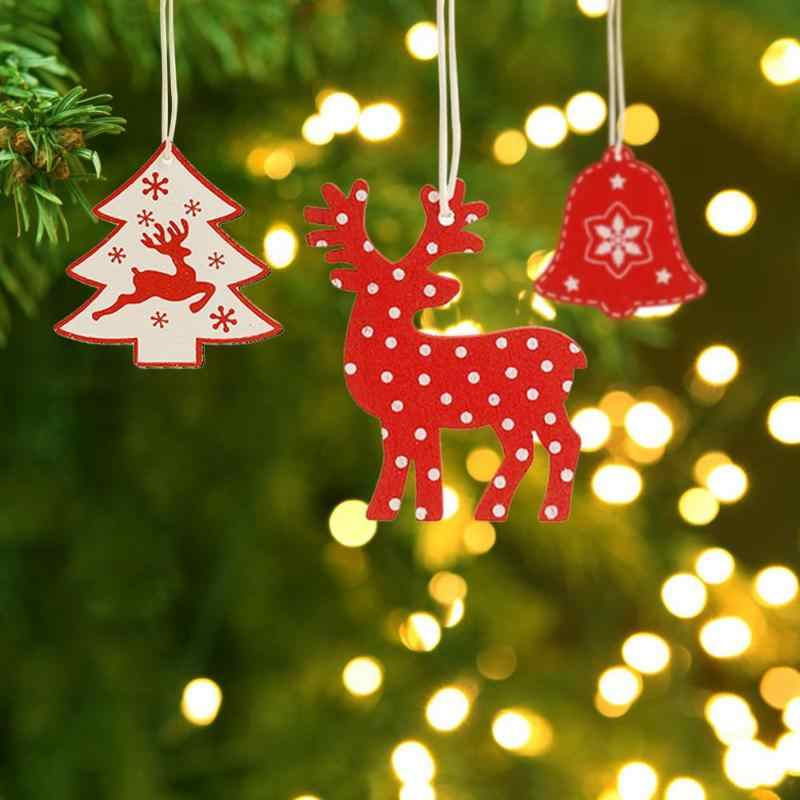 10 Natural Wood Santa Elk//Star Gift Tag Christmas Tree Decor Craft Embellishment