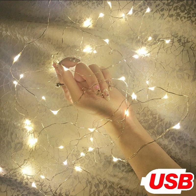 Transparent-Wire Starry-String Usb-Lights Micro Led Fairy Wedding Christmas Party 6-Colors