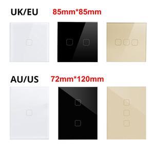 "Image 3 - LED אורות מגע מתג עבור LED נורות האיחוד האירופי ארה""ב בריטניה AU סטנדרטי מגע חיישן בקרת קיר מתג 1/2/3 כנופיית 1 דרך זכוכית קריסטל לוח"