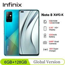 Globalna wersja Infinix Note 8 X692-K 6GB 128GB 6.95 ''HD + 20.5:9 64MP 18W szybkie ładowanie Helio G80 Octa Core 5200mAh telefon komórkowy