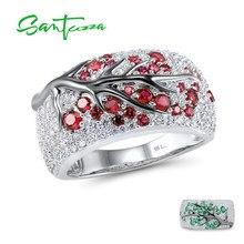 Santuzza anel de prata para mulher genuína 925 prata esterlina rosa verde cerejeira zircônia cúbica senhoras delicada moda jóias