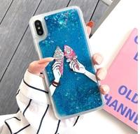Flamingo Case for iPhone 7 8 X XS XR 6 6S Plus Max Soft Coque Cute Cartoon Ice Cream Flowing Liquid Quicksand ipone Phone Cover