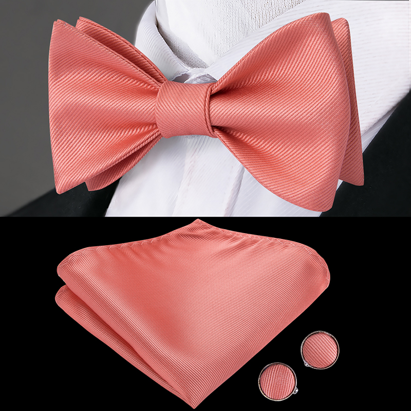 Hi-Tie Silk Adult Men's Butterfly Self Bow Tie Classic Rose Pink Coral Bow Ties For Men Wedding Hanky CUffinks Set Peach Bow Tie
