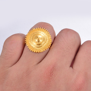 Image 4 - Wando Ethiopian Ring Gold Color round coin Rings for Women Eritrean African Fashion Wedding Ring Middle East Arab Jewelry