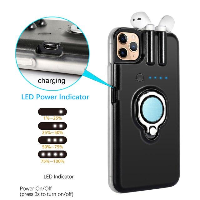 Für iPhone SE 2020 11 Pro Max Xs Max Xr 8 7 6 6s Plus Fall Finger Ring Halter lade Abdeckung Für AirPods 1 2 Bluetooth Kopfhörer
