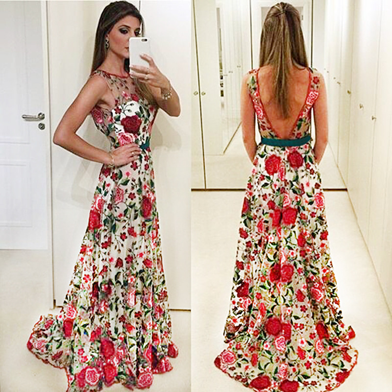 Sexy Hollow Out Back Round Neck Sleeveless Flower Embroidery Evening Dress Real Pictures Evening Gown Vestidos Compridos