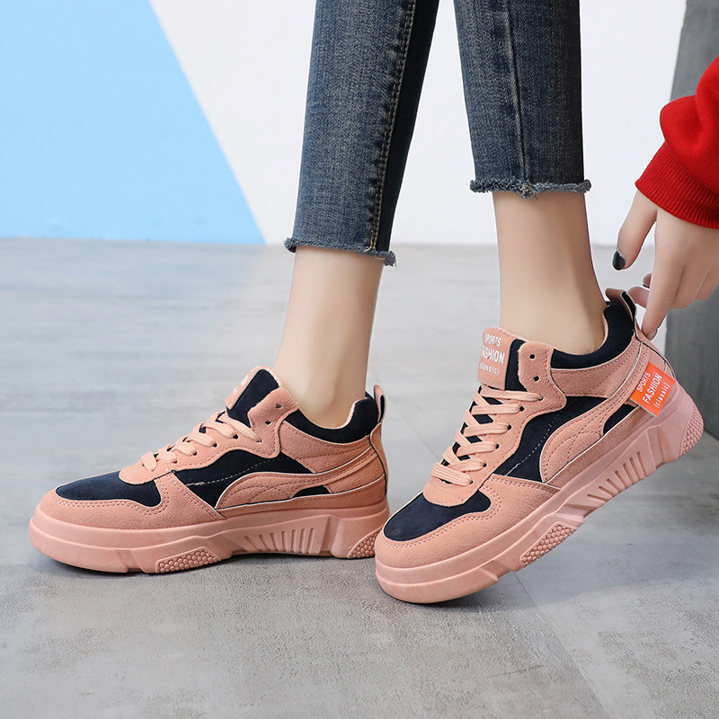 Chunky Sneakers women 2020 Casual Flats Shoes Females Cotton Lace Up Ladies Shoes Han Edition Sneakers Feminin Microfiber Shoes
