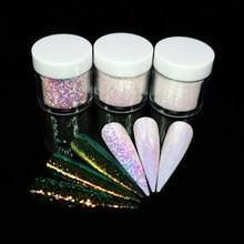 Mermaid Aurora tırnak Glitter holografik Unicorn Sequins gevreği renkli krom Pigment tozu süslemeleri çivi manikür
