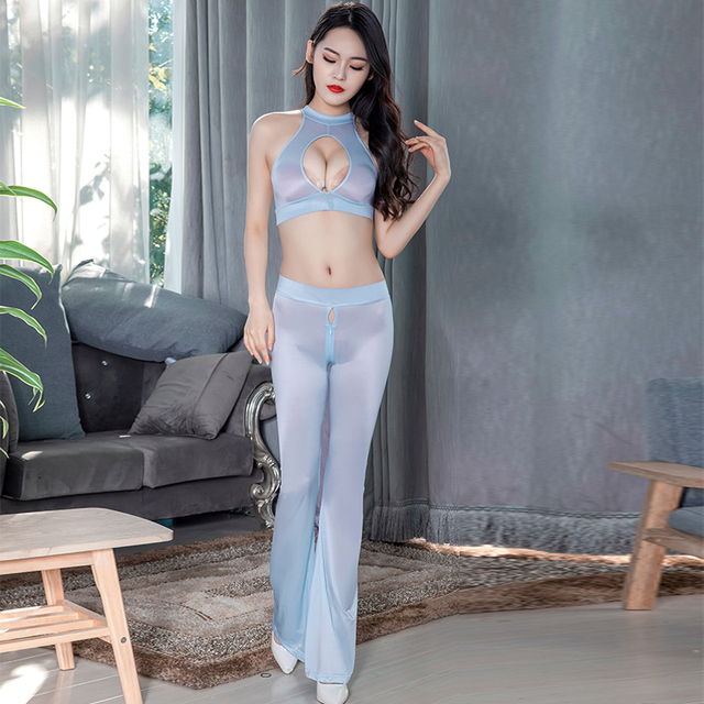 Super Thin Transparent Sexy Clubwear Leggings See Through Oil Glossy Shiny Zipper Open Crotch Flare Pants Elastic Hollow Top Set 5