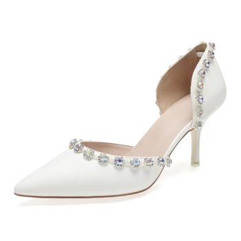 Ivory Matte leather high heels Pointed toe pumps D'orsay bridal wedding evening dress shoes colorful crystal rhinestone party