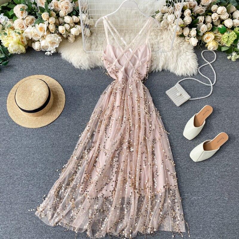 Celebrity Temperament Dress Dress Goddess Mindless Backless Sexy Bling Glitter Sequin Fringed Dress