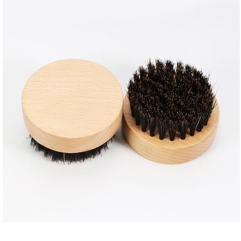 Beard Facial Hair BOAR BRISTLE Beard Brush Mens Boar Hair Bristle Hard Round Wood Handle Mustache Set Face Massage Beauty