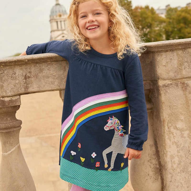 Прыжки метров Новое поступление платья для девочек с аппликацией хлопковая одежда для малышей осенне-весенний костюм принцессы с изображением лошади Детские платья