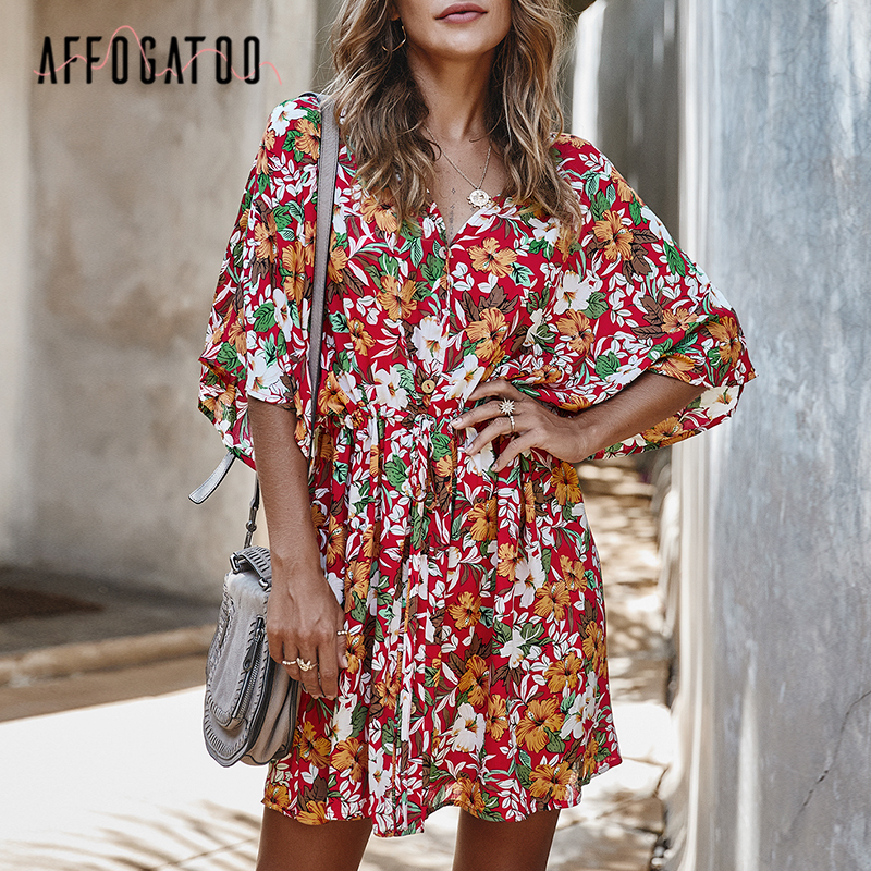 Affogatoo Elegant V-neck Loose Sash Floral Print Women Dress A-line Cotton Summer Dress Casual Holiday Beach Mini Dress Ladies