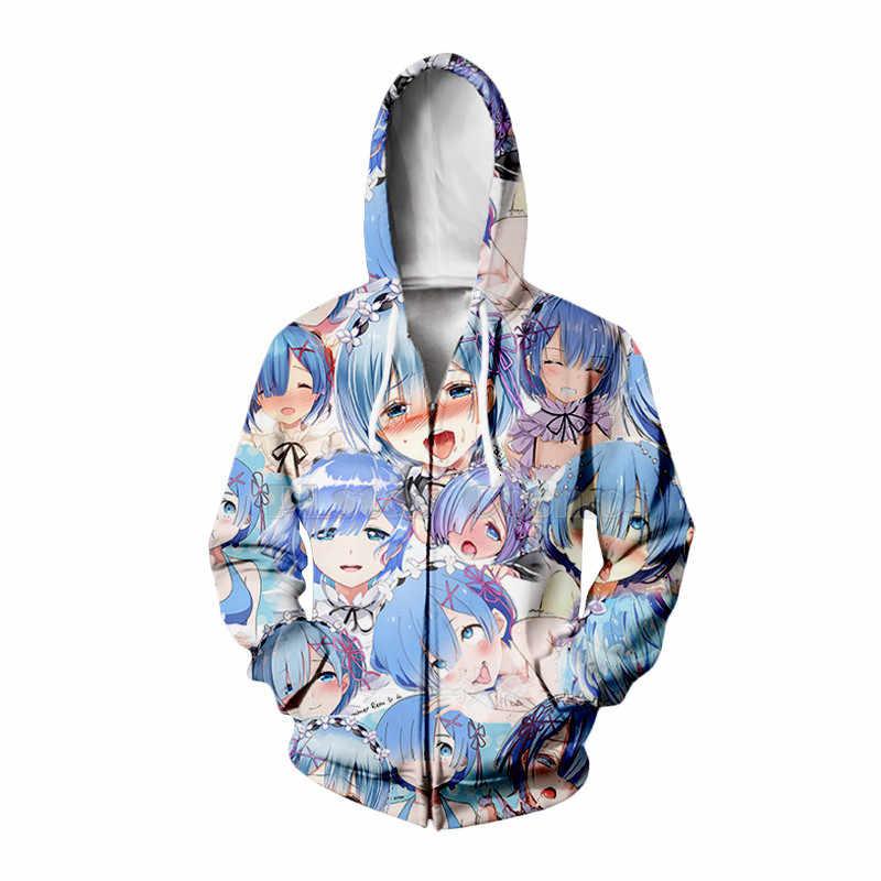 Re Nul Starten Leven In Een Andere Wereld 3D Hoodies/Shirt/Sweatshirt Hipster Anime Rem Unisex Gezicht Tops Kawaai