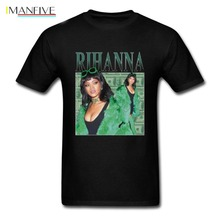 Hot sale New 2019 Summer Fashion T Shirts Rihanna T-Shirt men 100% cotton Black pop  Mens Tshirt Tee Size S to 3XL streetwear