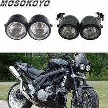 """3.5 """"siyah motosiklet Dominator ızgara Twins çift far Streetfighter H4 halojen çift far için Harley Cafe Racer Bobber"""