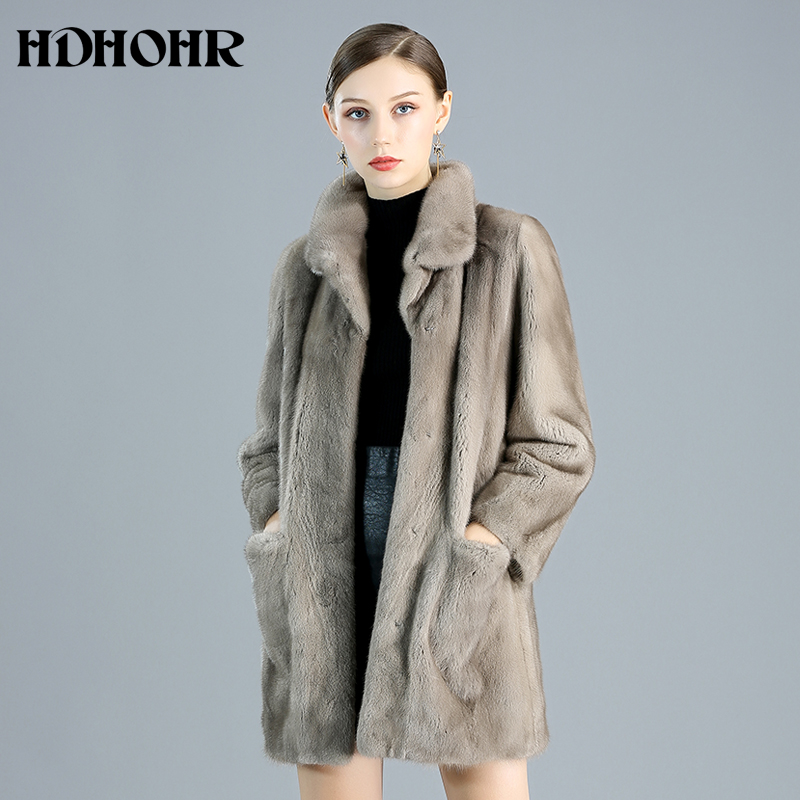 HDHOHR 2019 High Quality 100% Natural Mink Fur Coat Women Natural Import Real Mink Coats Warm Thick Mink Fur Jackets Winter