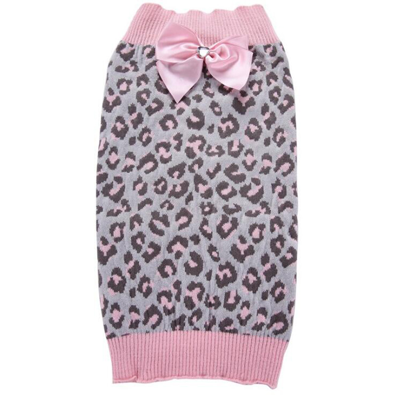 Christmas Cat Dog Sweaters Leopard Bow-tie Jumper Jersey Pet Puppy Clothes Warm chihuahua Clothing Knitting Crochet Cloth Coat