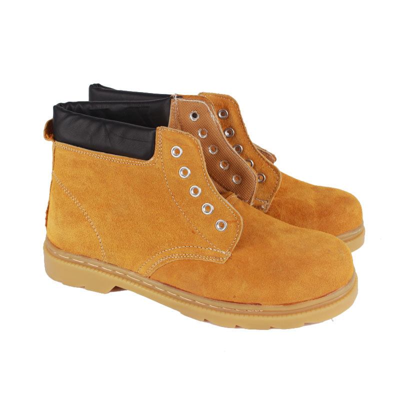 [Shun Po] Suede Mid-top Cowhide Safety Shoes Rubber Sole Anti-slip Oil Resistant Smashing Suede Safety Shoes