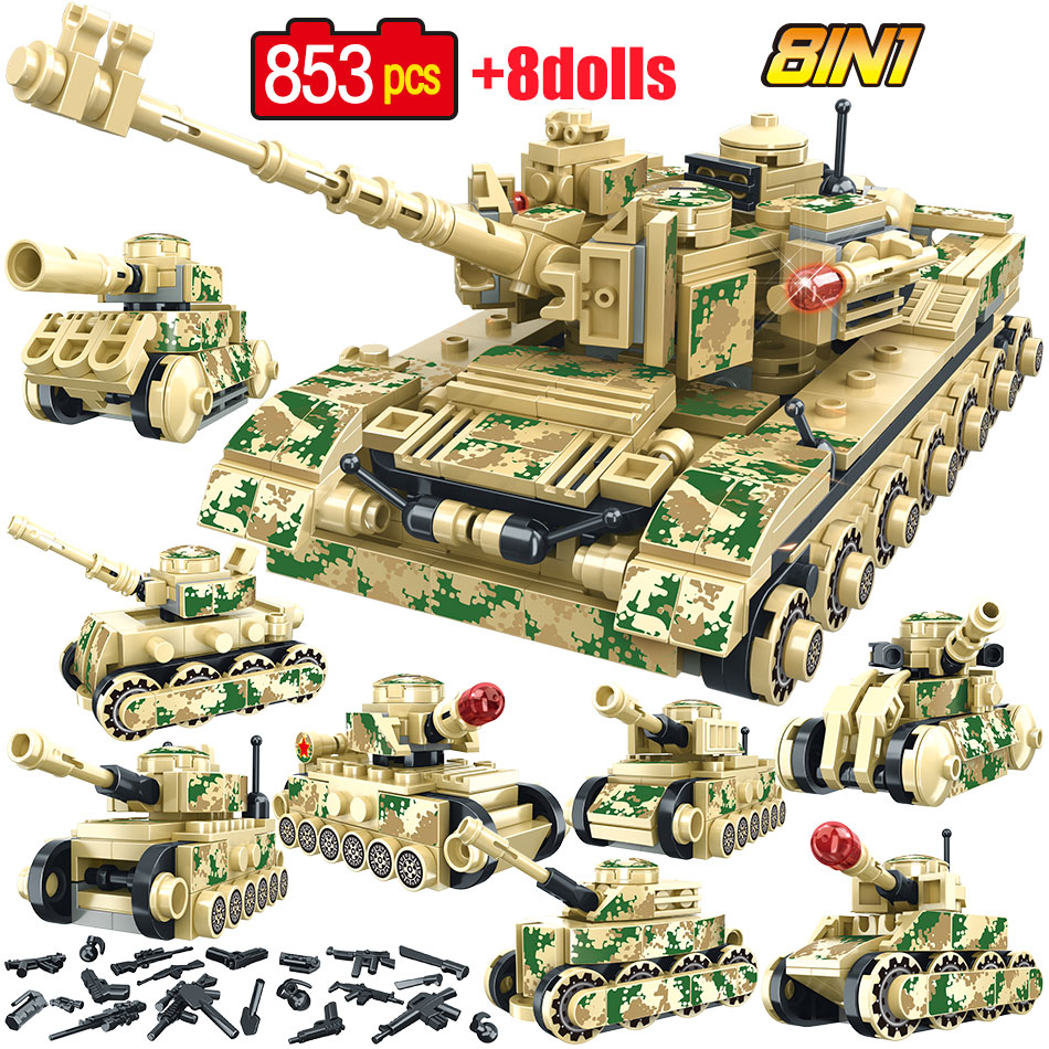 818Pcs KV2 Tank Bricks DIY Small Particle Military Building Blocks Model Set Kit