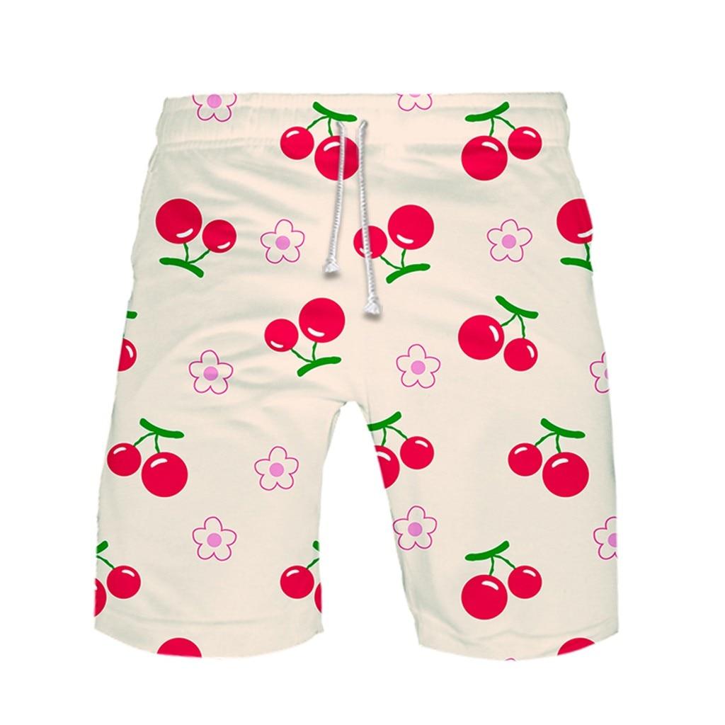 Cherry Casual Men Shorts Men Pant Streetwear Masculino Cotton Polyester Leisure Short Summer Beach Boardshorts Drawstring Pant
