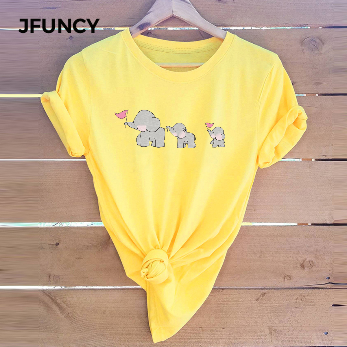 JFUNCY 2020 Spring Summer Women Tops Cute Elephant Family Cartoon T Shirt Short Sleeve Woman Casual Tee Shirts Cotton T-shirt