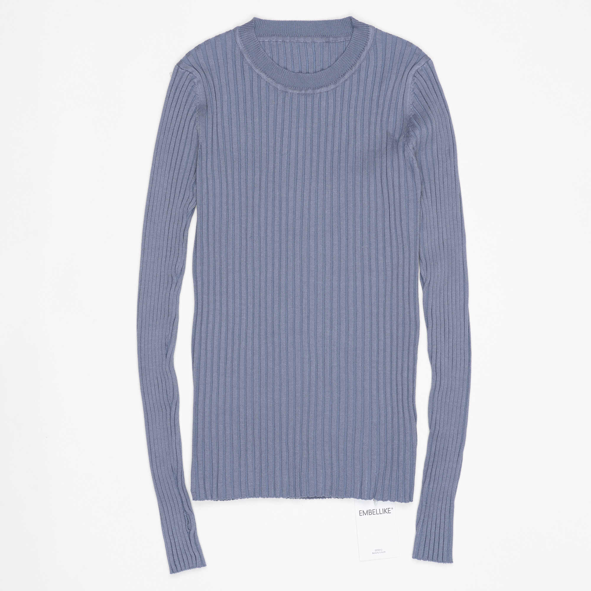 Женский свитер, пуловер, базовые вязаные в рубчик топы, однотонный лаконичный джемпер с круглым вырезом, свитеры с длинным рукавом с вырезом для большого пальца