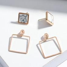 цена на Fashion Stud Earrings Marble Pattern Earrings Lady Geometric Round Triangle Square Punk Ear Stud Gift For Women Girls Jewelry