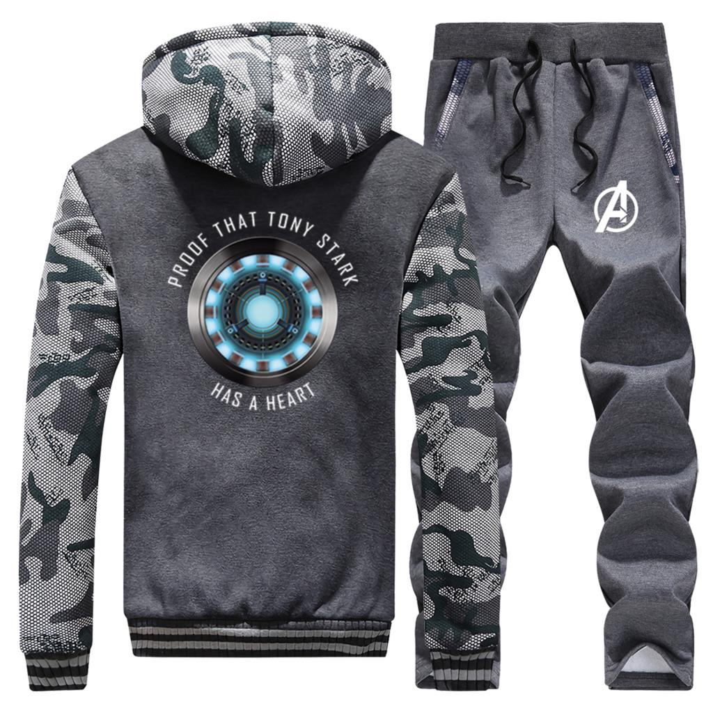Avengers Two Piece Set Tony Stark Iron Man Brand Clothing Suit 2020 Hot Selling Male Thick Outwear Warm Sweatpants Street Hoodie