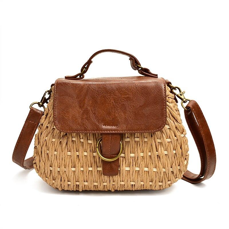 Vintage Straw Bag Pig Crossbody Beach Bag Casual Weaving Rattan Handbags