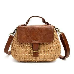 Image 1 - Vintage torebka ze słomy świnia Crossbody torba na plażę casual tkactwo rattanowe torebki
