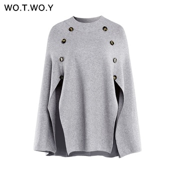 WOTWOY 2019 Knitted Cloak Sweater Women Casual Loose Shawl Autumn Winter Streetwear Poncho Women Sweater And Pullovers Plus Size 6