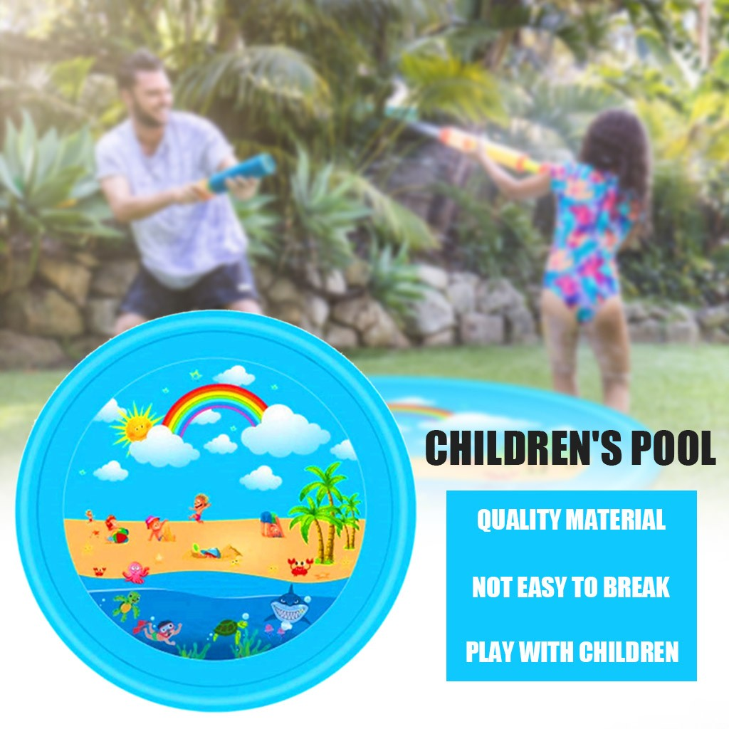 Summer Cool Play Water Toys For Kids Inflatable Splash Sprinkler Pad Outdoor Water Cushion Toy Kiddie Baby Pool