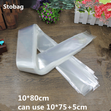 StoBag 100 個 10*80 センチメートルクリア Opp 包装袋細身袋包装自己粘着袋プラスバッグロングバッグ OEM