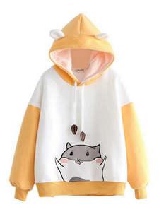 YUPINCIAGA Sweatshirts Women Hoodies Hamster Embroidery Pullovers Harajuku Hit with Horns