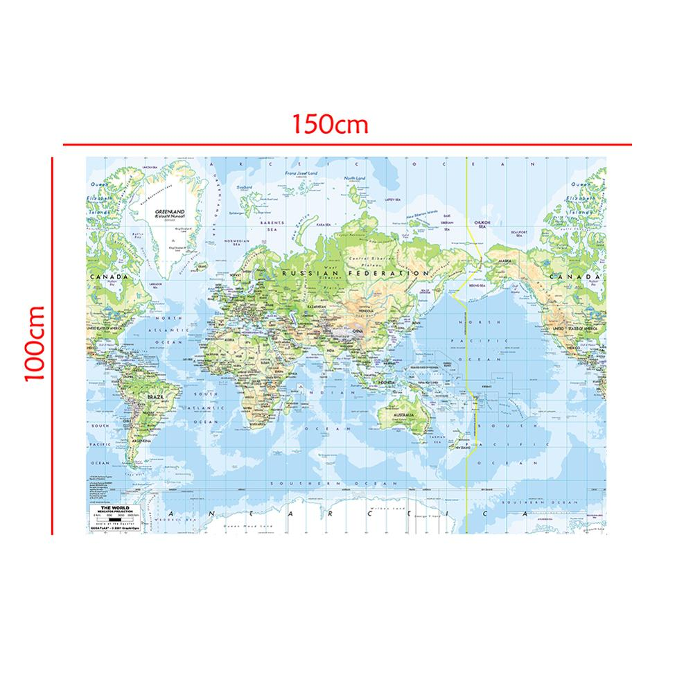 The World Map Mercator Projection 150x100cm Vinyl Spry World Map Without National Flag