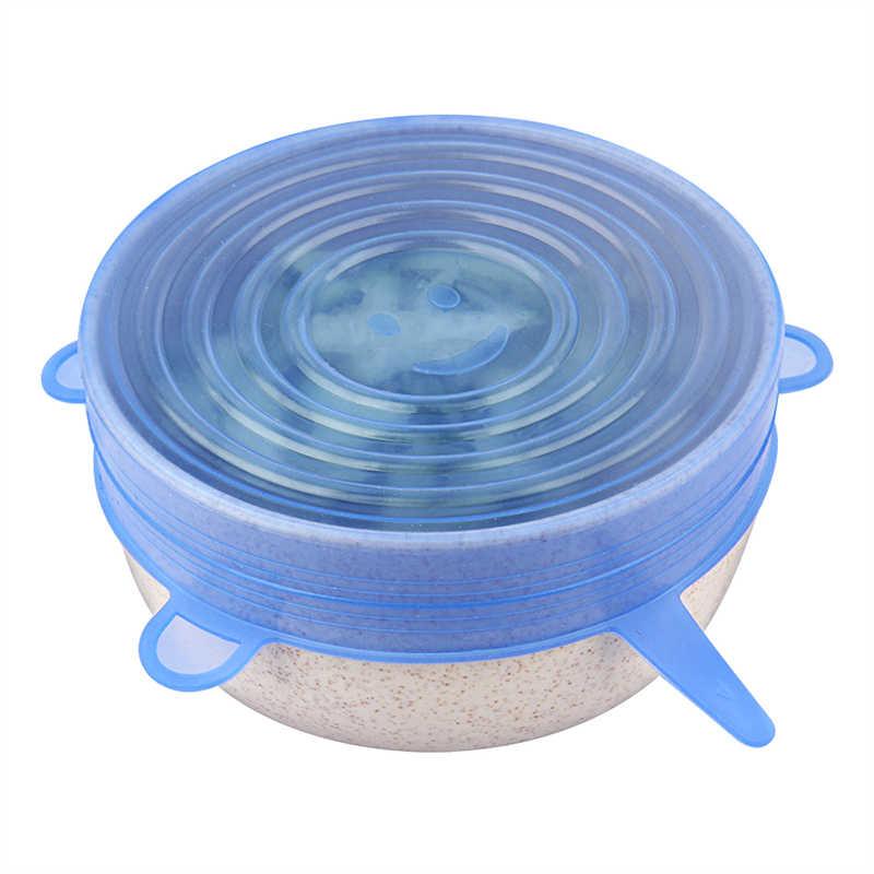 6 Stuks Silicone Stretch Deksels Herbruikbare Luchtdicht Voedsel Wrap Covers Houden Verse Afdichting Kom Elastische Wrap Cover Keuken Kookgerei