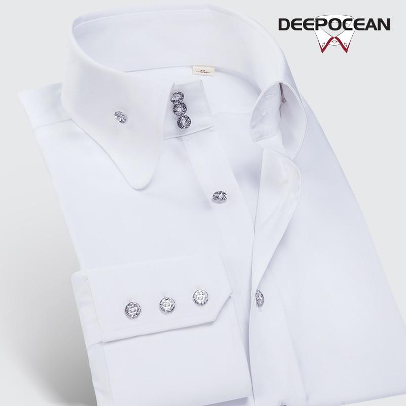 DEEPOCEAN mercerized cotton round neck high neck shirt men's long-sleeved slim young men's shirt Korean handsome