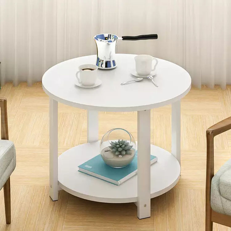 Simple Assembly Round Coffee Table With 2 Layers Storage Table Side Desk Living Room Sofa Side Table Home Furniture