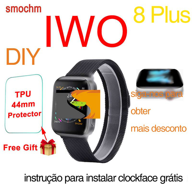 Smochm IWO 8 Plus 1:1 MTK2502C Wireless Charger Bluetooth Smart Watch Update IWO 9 IWO8 Smartwatch 44MM Series 4 for Apple Watch