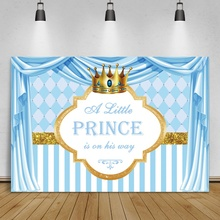 Pink Blue Curtain Newborn Baby Shower Birthday Photography Backdrops Princess Stage Crown Poster Photo Background Photo Studio