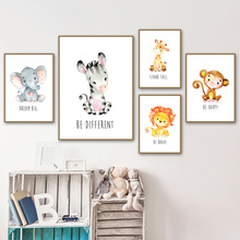 Lion Elephant Giraffe Monkey Animal Baby Nordic Canvas Posters And Prints Wall Art Print Painting Pictures Kids Room