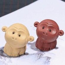 PINNY Purple Clay Macaque Handmade Sculpture Zisha Tea Pet Ceremony Accessories Tabletop Handcrafts