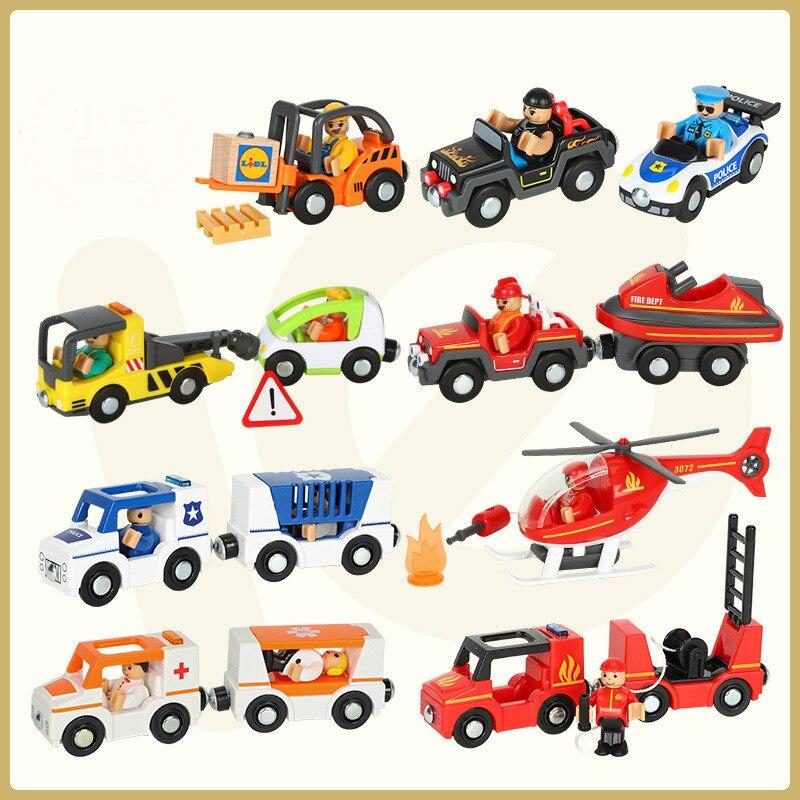 Empresa Caminhão ambulância carro da polícia caminhão de bombeiros carro de trem Magnético compatível brio pista de madeira brinquedos Para Crianças